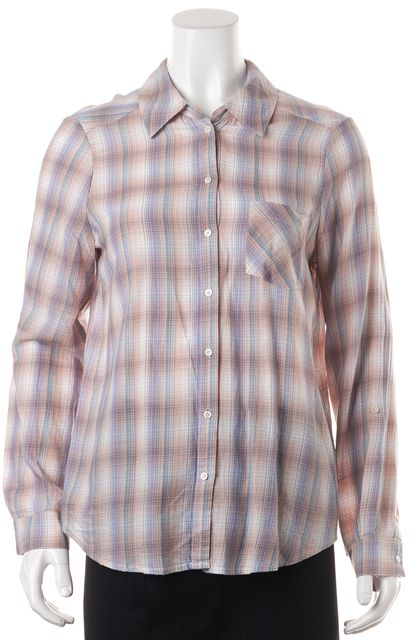 JOIE Pink Blue White Plaid Oversized Button Down Shirt Blouse