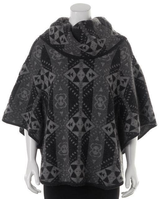 JOIE Gray Wool Geometric Cowl Neck Poncho Sweater