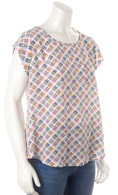 JOIE White Blue Pink Shoe Print Silk Cap Sleeve Blouse Top