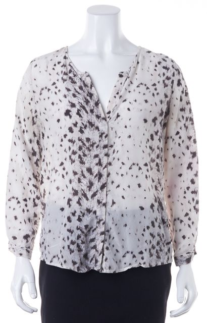 JOIE Ivory Grey Black Animal Print Silk Button Front Blouse Top