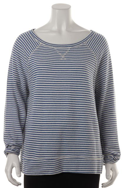 JOIE Blue White Cotton Striped Raglan Long Sleeves Relaxed Fit Knit Top