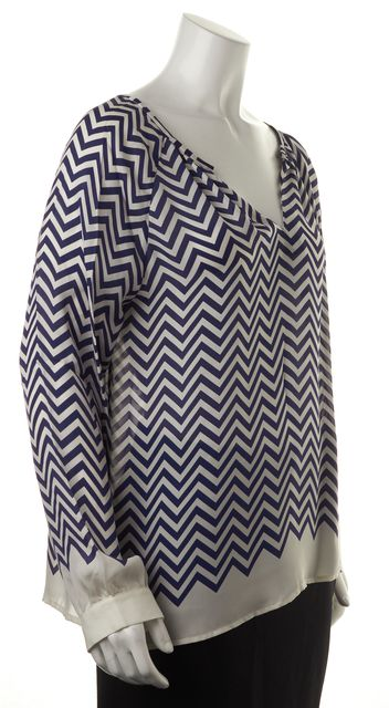 JOIE Blue White Chevron Striped Sheer Silk Long Sleeve Relaxed Fit Blouse