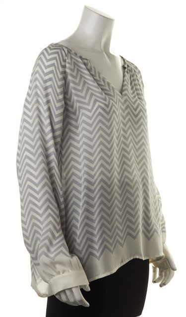 JOIE Gray White Chevron Striped Sheer Silk Long Sleeve Relaxed Fit Blouse