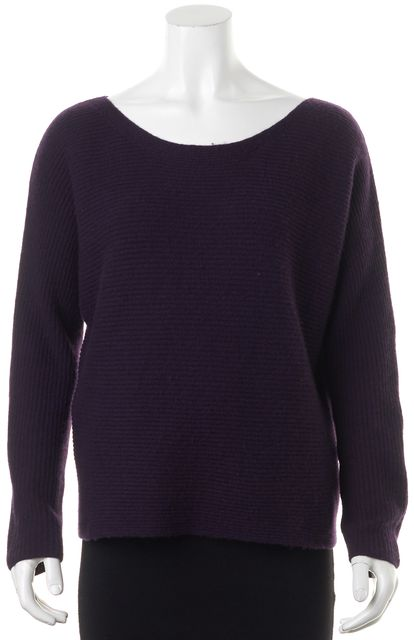 JOIE Purple Ribbed Cashmere Long Sleeve Scoop Neck Sweater