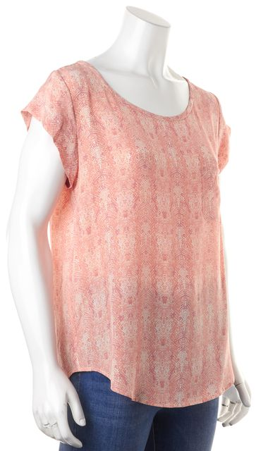 JOIE Pink Abstract Snake Skin Print Silk Rancher Blouse