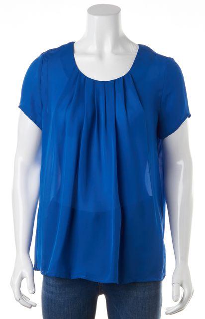 JOIE Blue Pleated Short Sleeve Keyhole Back Relaxed Fit Blouse