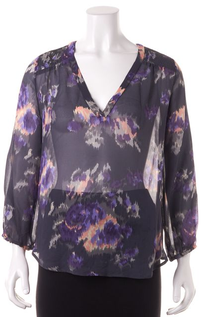 JOIE Gray Pink Floral Silk Blouse Top