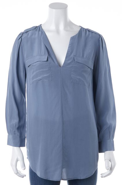 JOIE Blue Silk Relaxed Fit V-Neck Blouse Top