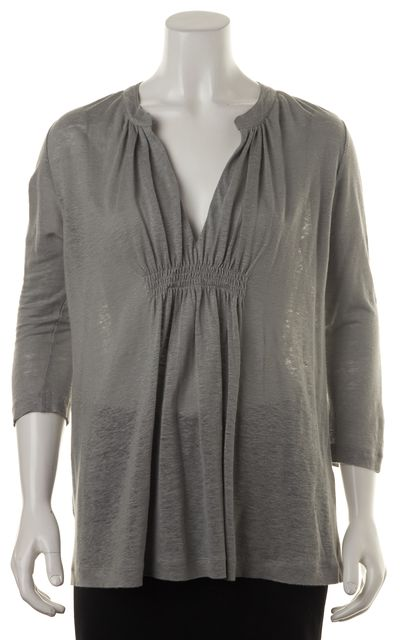 JOIE Gray Linen 3/4 Sleeve Gather Front Split Neck Knit Jersey Top