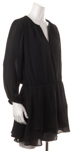 JOIE Black Caviar Silk Long Sleeve Lovelle Blouson Mini Dress