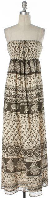 JOIE Brown Beige Geometric Print Empire Waist Full Length Maxi Dress