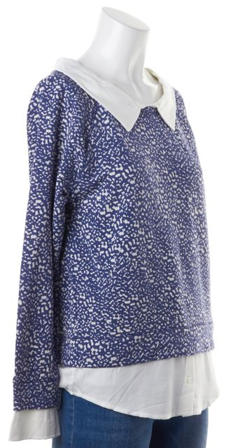 JOIE Blue White Abstract Print Keala Layered Effect Blouse