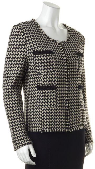 JOIE Black Ivory Tweed Wool Zipped Four Pocket Basic Jacket