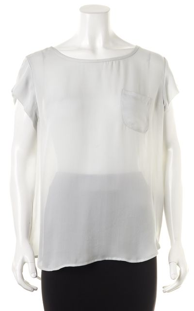 JOIE Gray Semi Sheer Short Sleeve Pocket Front Silk Blouse Top
