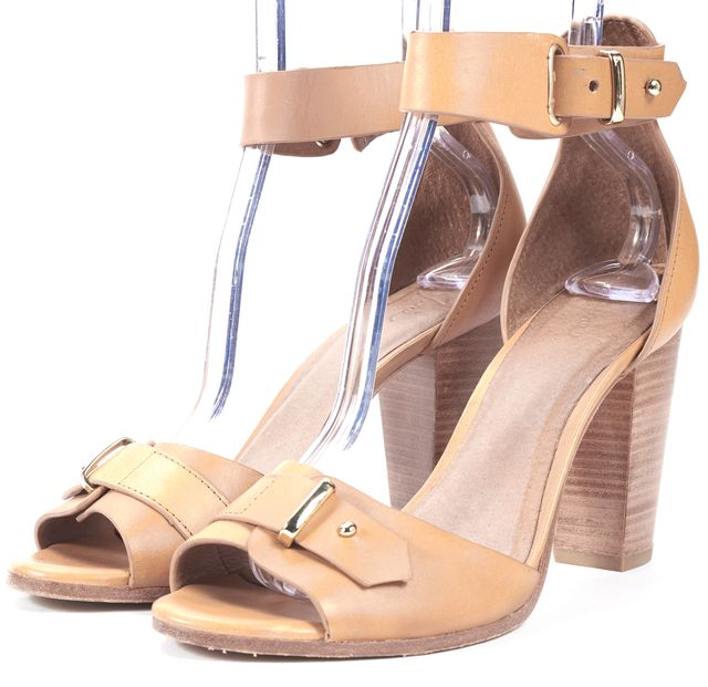 JOIE Tan Brown Leather Ankle Strap Sandal Block Heels