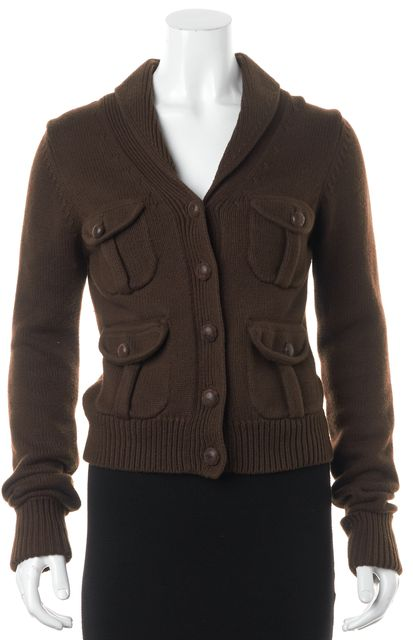 JOIE Brown Cashmere Blend Button Front Multi Pocket Cardigan Sweater
