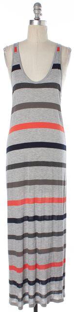 JOIE Gray Navy Blue Orange Striped Sleeveless Tank Sheath Maxi Dress