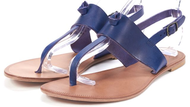 JOIE Navy Blue Leather T-Strap Flat Sandals