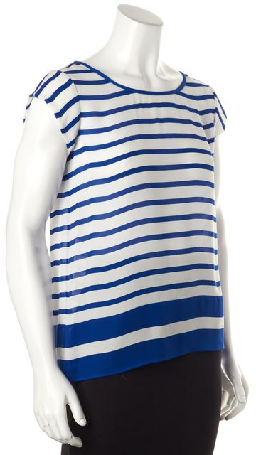 JOIE Blue White Striped Silk Relaxed Fit Blouse Top