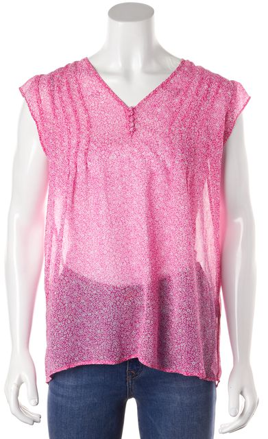 JOIE Pink Floral 100% Silk Sleeveless Sheer Blouse Top