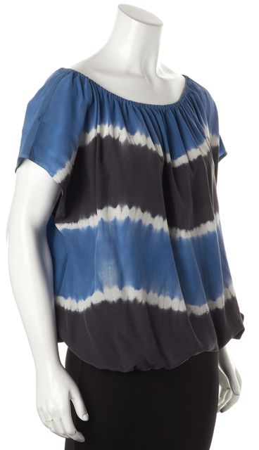 JOIE Blue White Gray Silk Relaxed Fit Short Sleeve Blouse