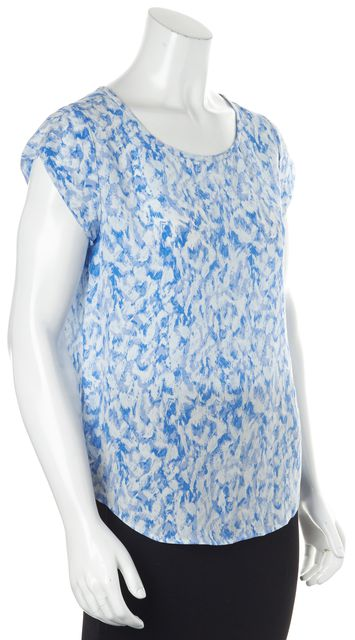JOIE Blue White Abstract 100% Silk Cap Sleeve Back Buttoned Blouse Top