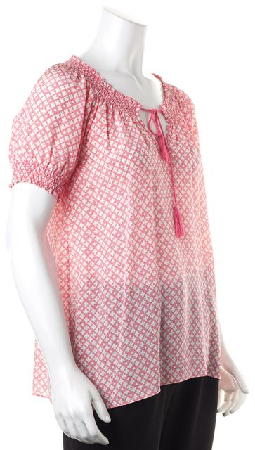 JOIE Pink White Geometric Silk Short Sleeve Blouse Top