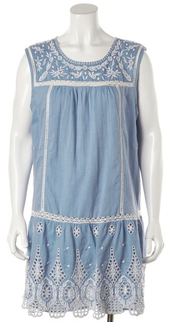 JOIE Blue White Embroidered Josune Chambray Porcelain Shift Dress