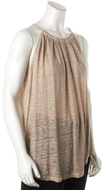 JOIE Tan Brown Beige Linen Knit Thin Strap Relaxed Fit Semi Sheer Top