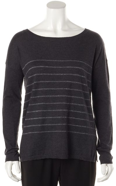 JOIE Gray Sliver Striped Long Sleeve Wide Crewneck Sweater