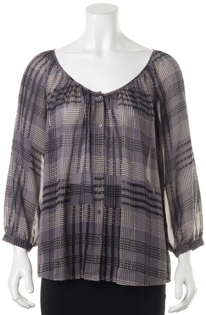 JOIE Gray Black Beige Geometric Print V-Neck Semi Sheer Silk Blouse Top