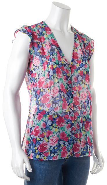 JOIE Pink Blue Green Yellow Floral Print Sleeveless Button Front Blouse