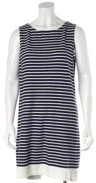 JOIE Navy Blue Ivory Striped Cotton Rilo Sleeveless Shift Dress