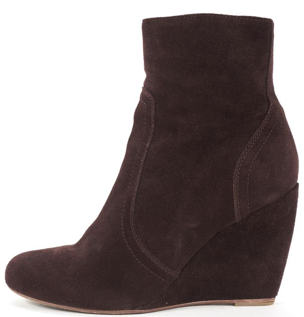 JOIE Burgundy Red Suede Wedged Ankle Boots