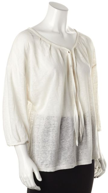 JOIE Ivory Linen Boat Neck Sheer Knit Relaxed Fit Top