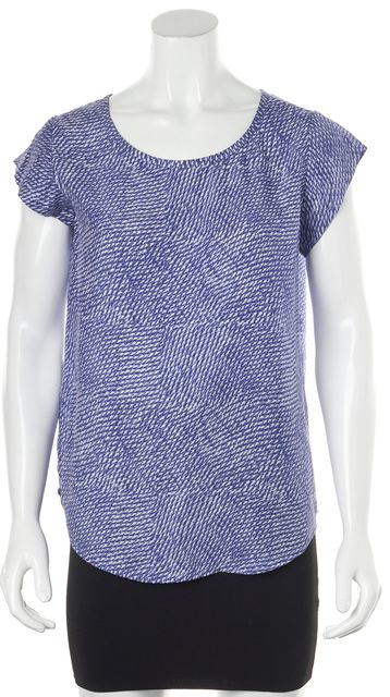 JOIE Blue White Abstract 100% Silk Short Sleeve Casual Blouse