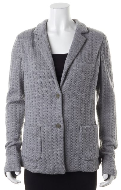 JOIE Gray Wool Double Button Blazer Style Cable Knit Cardigan