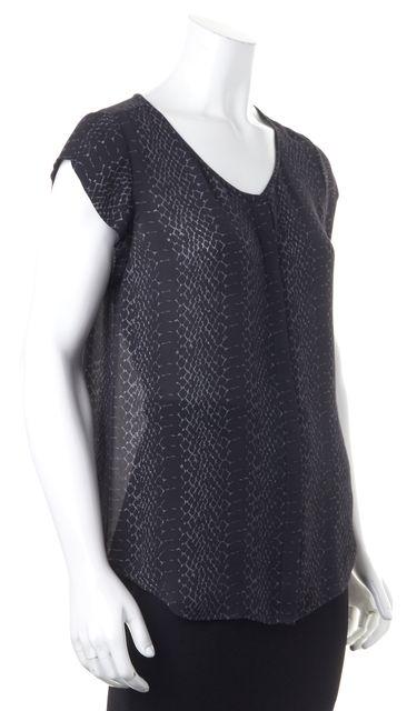 JOIE Black Gray Animal Print Silk Blouse
