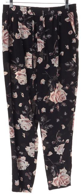 JOIE Black Pink Floral Printed Silk Relaxed Slim Drawstring Trousers Pants
