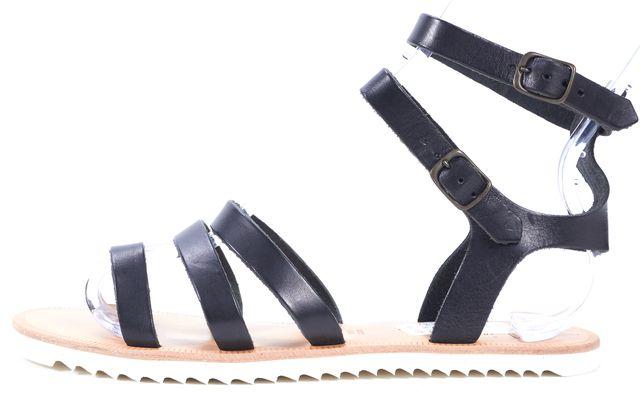 JOIE Black Leather Gladiator Flat Sandals