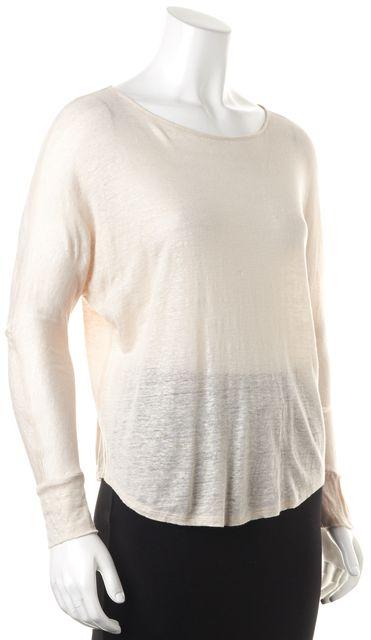 JOIE Metallic Beige Linen Long Sleeve Knit Top