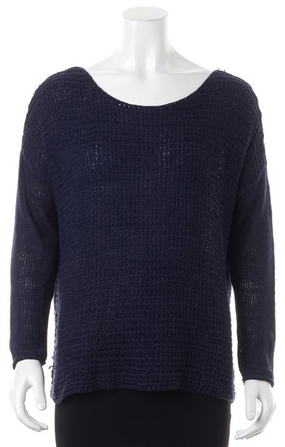 JOIE Navy Blue Long Sleeve Linen Knit Scoop Neck Casual Sweater