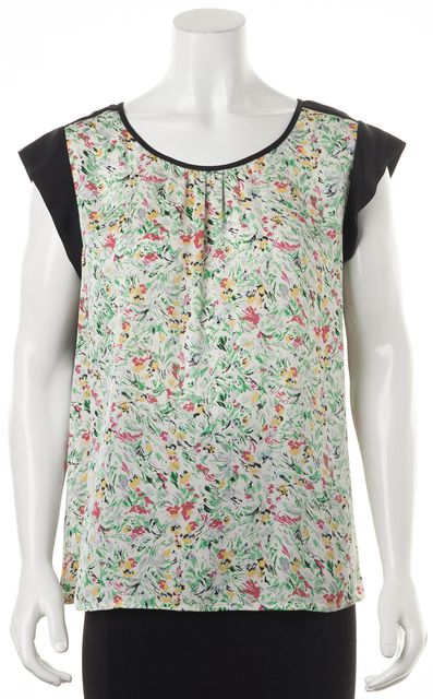 JOIE Green Pink Yellow Floral Print Relaxed Fit Silk Blouse Top