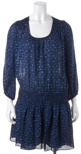 JOIE Blue White Abstract Silk Semi Sheer Mini Blouson Dress