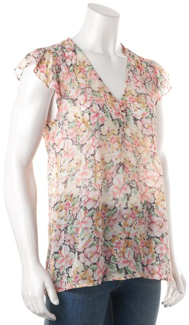 JOIE Pink White Green Floral Printed Sheer Silk Ruffle Cap Sleeves Blouse