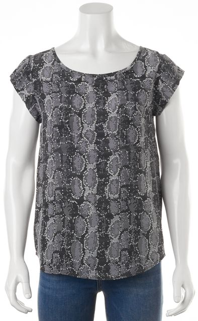 JOIE Black White Grey Geometric Print Relaxed Fit Silk Blouse Top