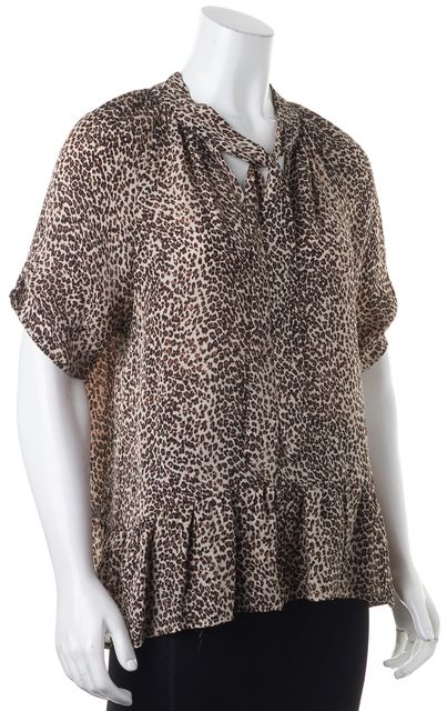 JOIE Brown Animal Leopard Print Silk Relaxed Fit V-Neck Blouse Top