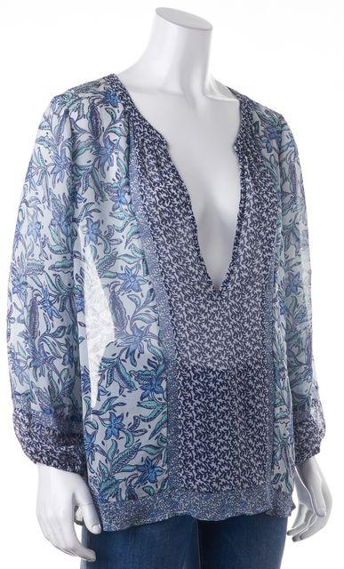 JOIE Navy Blue Green Floral Print Silk V-Neck Sheer Blouse Top