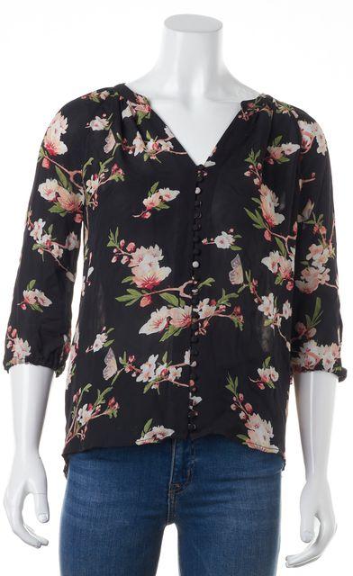 JOIE Black Pink Green Ivory Floral Print Silk V-Neck Semi Sheer Blouse Top