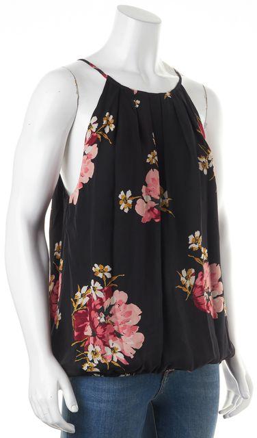 JOIE Black Silk Floral Print Blouse
